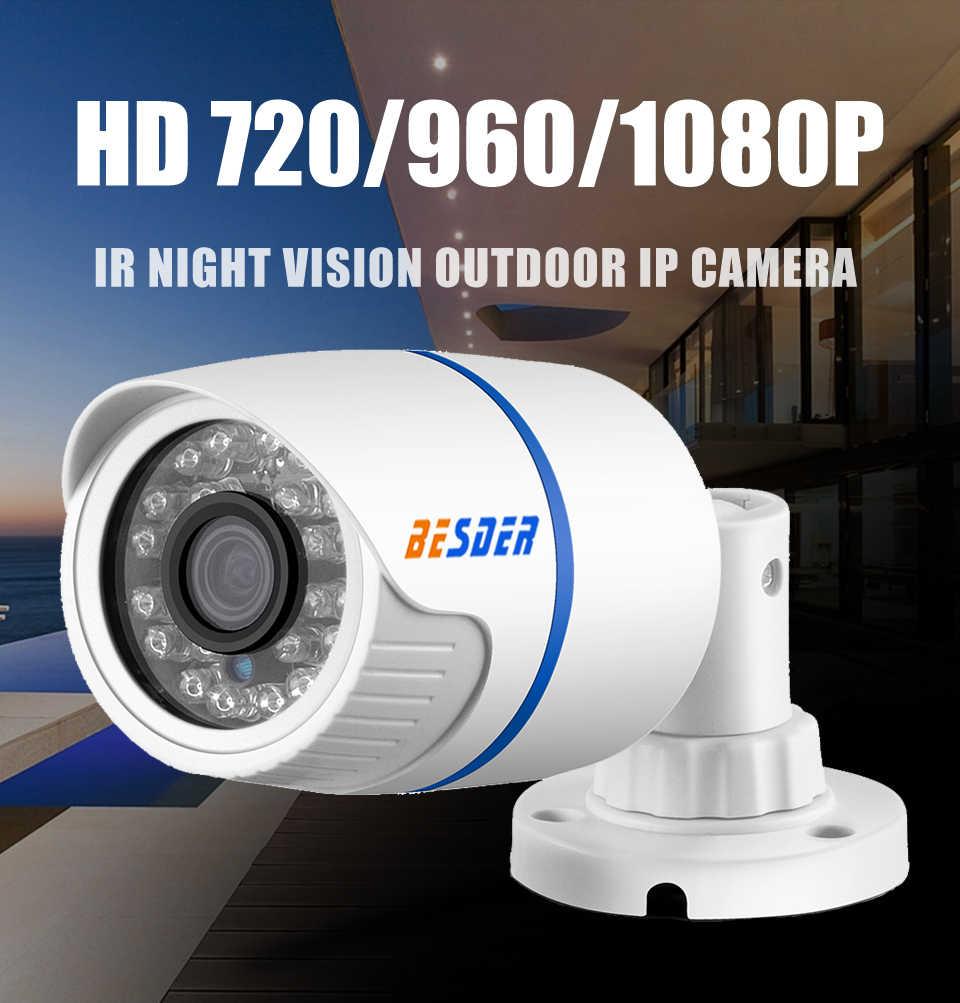 BESDER 2 8mm Wide IP Camera 1080P 960P 720P ONVIF P2P Motion Detection RTSP  Email Alert XMEye 48V POE Surveillance CCTV Outdoor