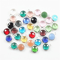 50pcs Mix Color Faceted Crystal Glass Connector Beads Round Shape Gem Charm Glass Bead for Jewelry Making