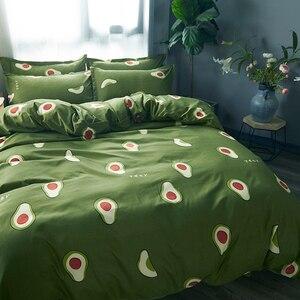 Image 5 - Karikatür meyve nevresim takımı Yumuşak Yorgan Kapak Yastık Kılıfı Sıcak Yumuşak yatak setleri e n e n e n e n e n e n e n e n e n e tam kraliçe kral yorgan kapak setleri yeşil yatak örtüsü