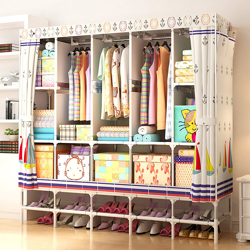 XXL Wardrobe With Shoe Rack Non Woven Fabric Frame Reinforcement Standing  Storage Organizer Detachable Clothing Closet Furniture In Wardrobes From  Furniture ...
