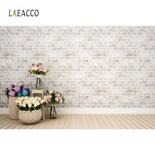 Laeacco Photography Backdrops Gray Brick Wall Basket Flower Wooden Flooring Children Portrait Background Photocall Photo Studio