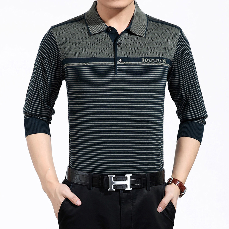 Mens polo shirt striped long sleeve knitted pullover male new 2016 brand casual business men tops