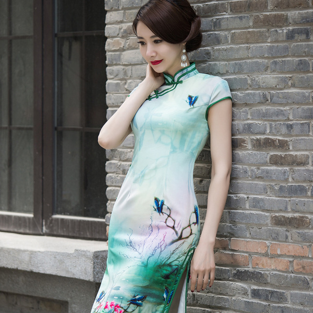 TIC-TEC chinese traditional women vintage flower print cheongsam green long qipao oriental dresses elegant evening clothes P3146