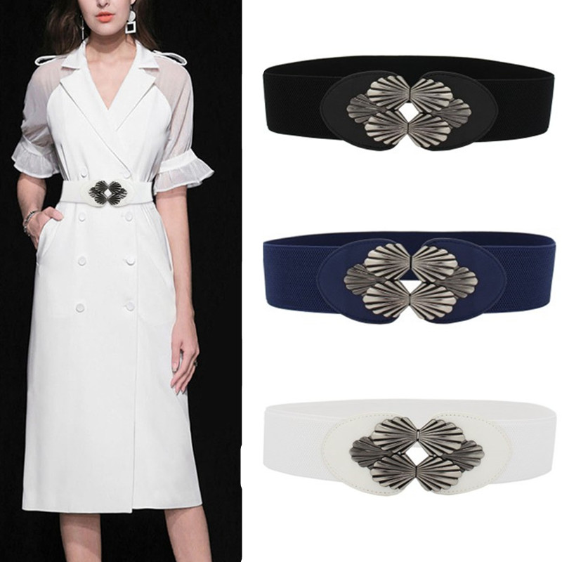 Elastic White Belt Dark Blue Corset Belts For Women Dress Fashion NEW Black Sector Buckle Cummerbunds Ladies Wedding Waistbands