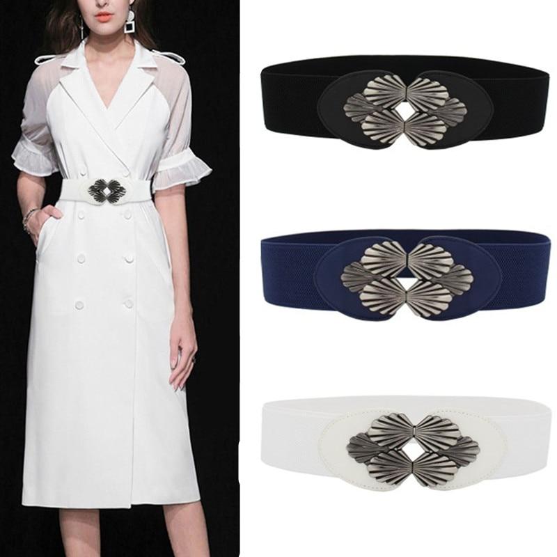 Elastic White Belt Dark Blue Corset Belts For Women Dress Fashion NEW Black Sector Buckle Cummerbunds Ladies Wedding Waistbands