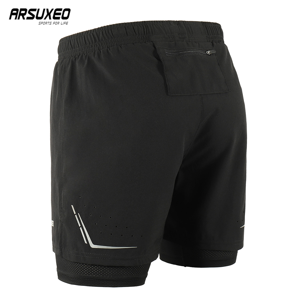 ARSUXEO 2019 Men's Running Shorts 2 In 1 With Longer Liner  Active Training Exercise Jogging Sports Shorts Quick Dry B192