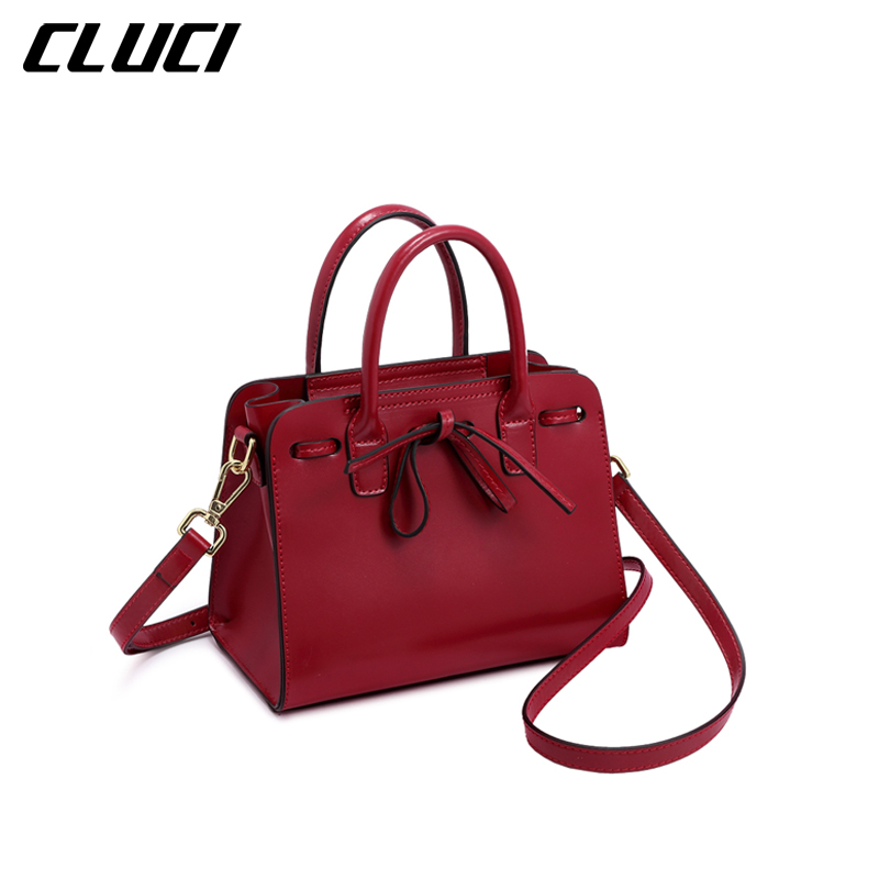 CLUCI Women Luxury Handbags Split leather Fashion Black Red Bow Shoulder Bag Messenger Bags For Female Evening High Quality cluci women genuine leather luxury handbags vintage zipper black red gold purple blue shoulder bag top handle bags neverfull