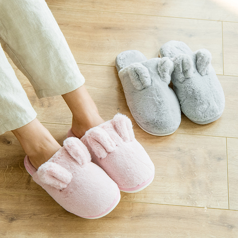 HALLUCI Rabbit ears plush couples slippers women shoes fluffy ladies house slippers zapatos mujer slides pantufa home shoes