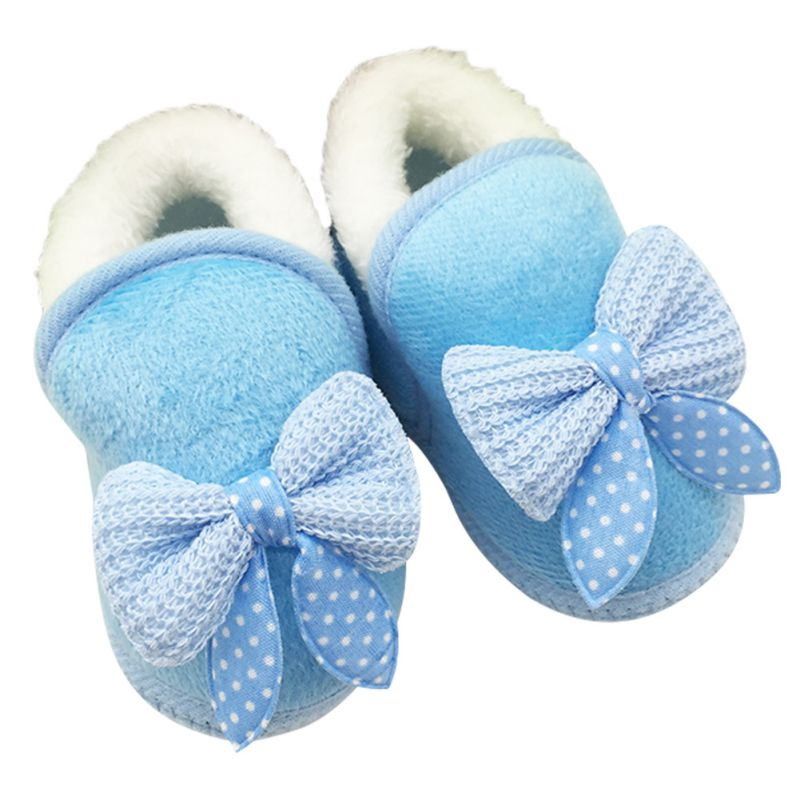 Winter Warm First Walkers Baby Shoes Soft Bottom Non-slip Bow Toddler Shoes Infant Toddler Baby Shoes
