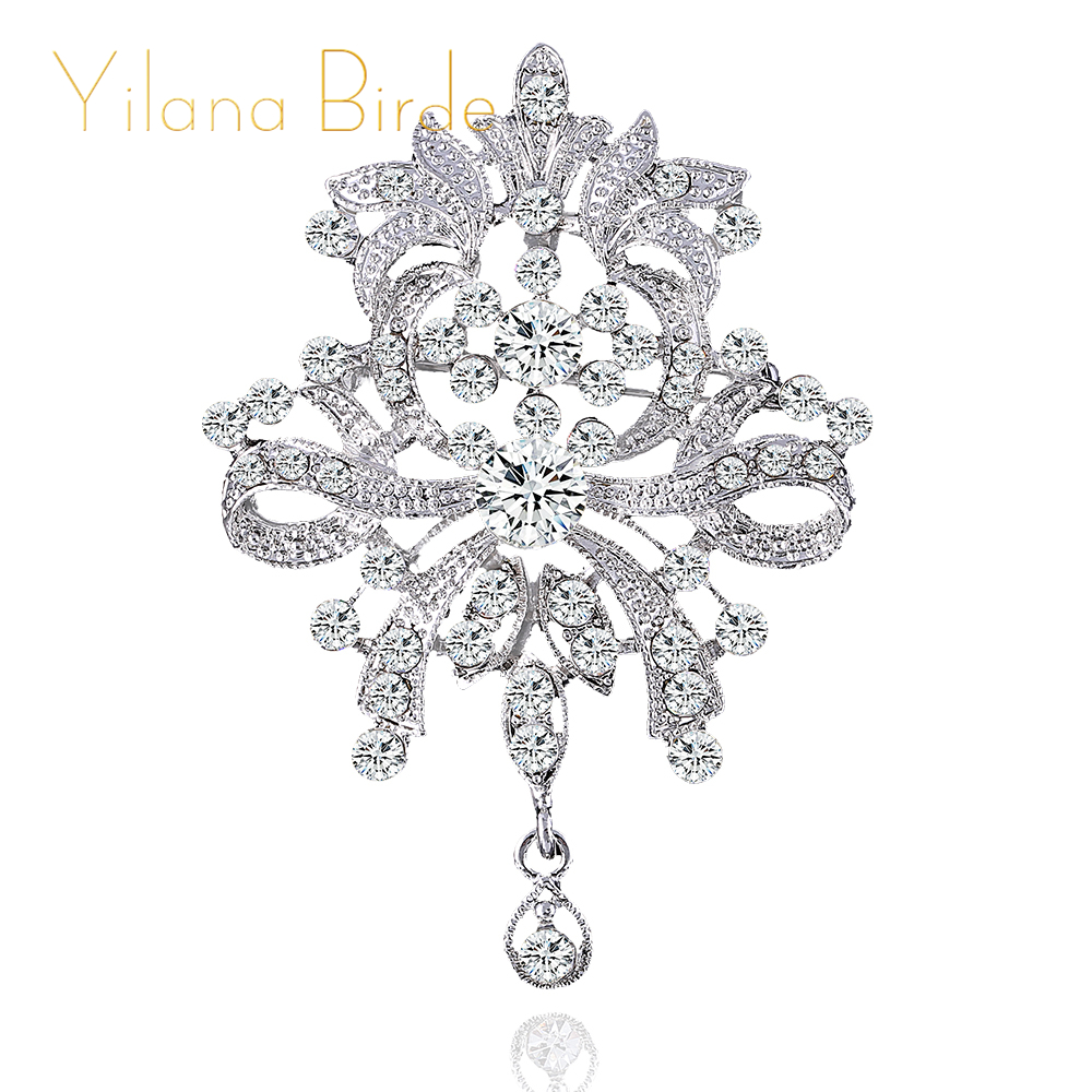 YILANA BRIDE rhinestone brooch bouquet big brooches hijab pins and crystal rhinestone brooches wedding gift woman fashion