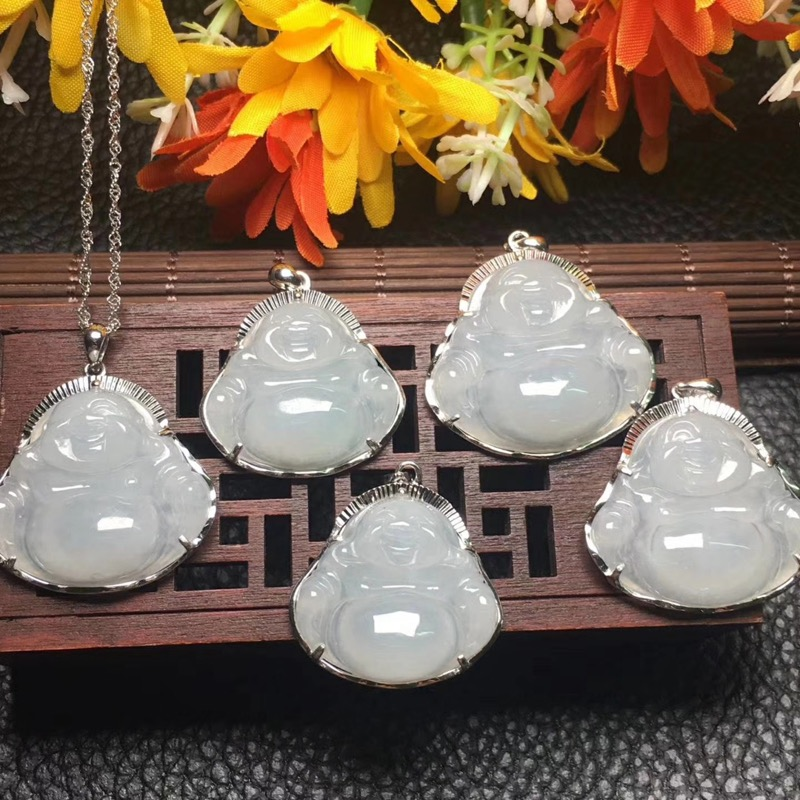 Certificate natural jade buddha necklace women's pendant gift with box inlay 925 silver jewelry pendants