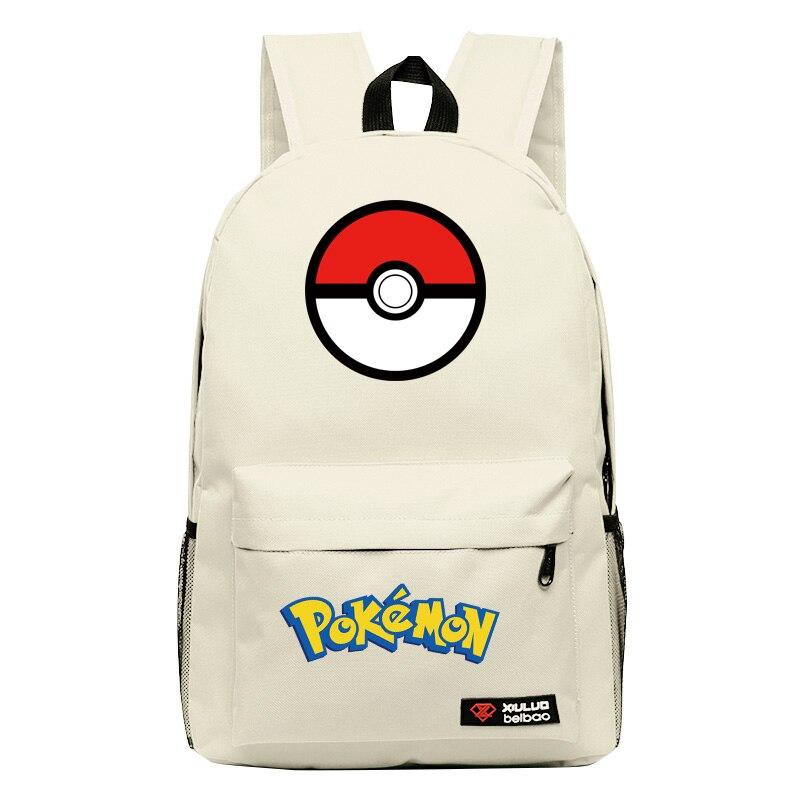2017 Hot Game Pocket Monster Pokemon Pikachu Squirtle Kawaii Emoji Canvas Printing Backpack Women Children Fashion School Bag #3