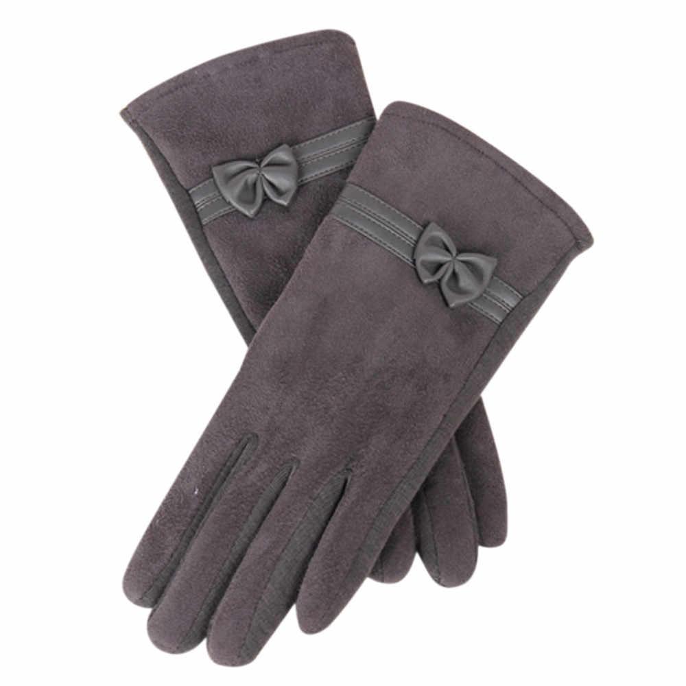 قفازات نسائية أنيقة قفازات الشتاء الدافئة القوس قفازات المعصم الناعمة قفازات الكشمير إصبع كامل guantes mujer handschool enen 18Nov