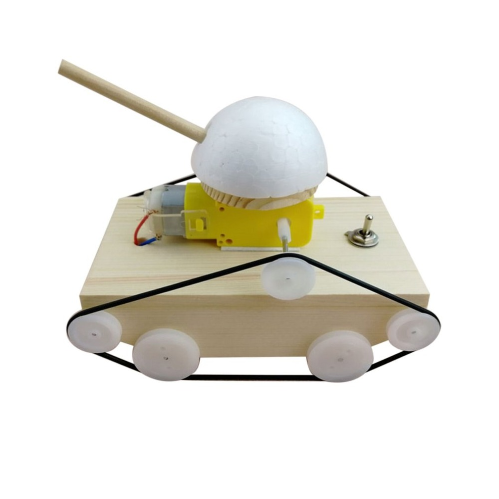 Kids DIY Manual Electric Tank Science Educational Toys Assembling Model Building Constru ...