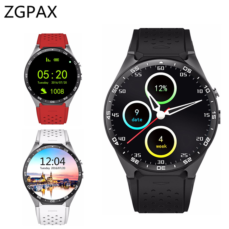 Top ZGPAX KW88 3G WIFI GPS smart watch Android 5.1 OS MTK6580 CPU 1.39 inch Screen 2.0MP camera smartwatch for apple moto huawei