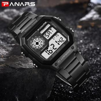PANARS Watch Men Women Sport Relogio Masculino Digital Watches Chronograph Waterproof Watch Stainless Wristwatches Male Clock 2