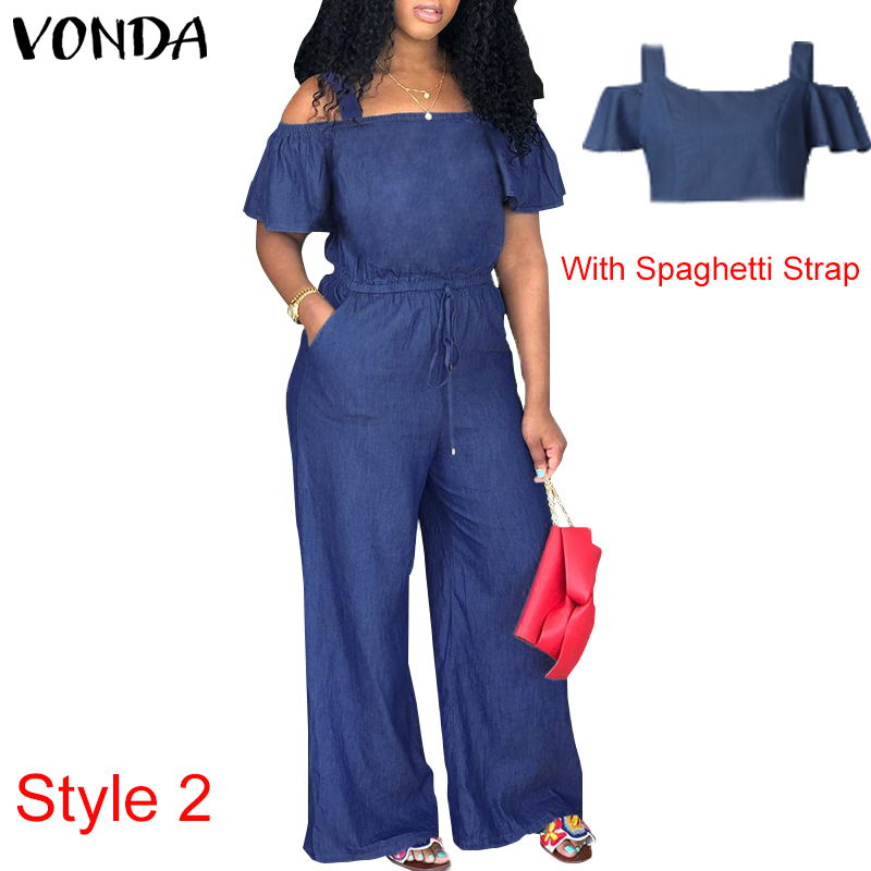 Denim Rompers Womens Jumpsuit 2019 Summer Sexy Slash Neck Off Shoulder Ruffles Playsuit Plus Size Wide Leg Pants Overalls in Jumpsuits from Women 39 s Clothing