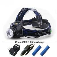 2000 Lumens Lantern CREE XML T6 Headlight Linterna Cabeza Led LED Headlamp 2 X 18650 Battery