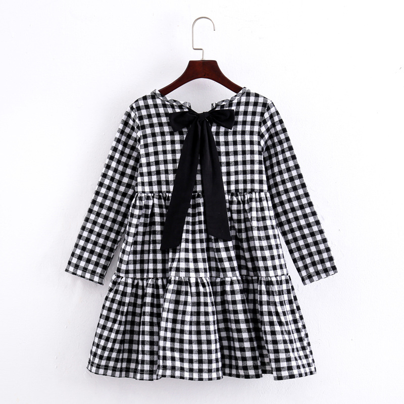 Image 3 - Brand 2019 Autumn New Girls Dresses Children Cotton Dress Kids Plaid Dress Bow Baby Girls' Cotton Dress Toddler Clothes,#2787-in Dresses from Mother & Kids