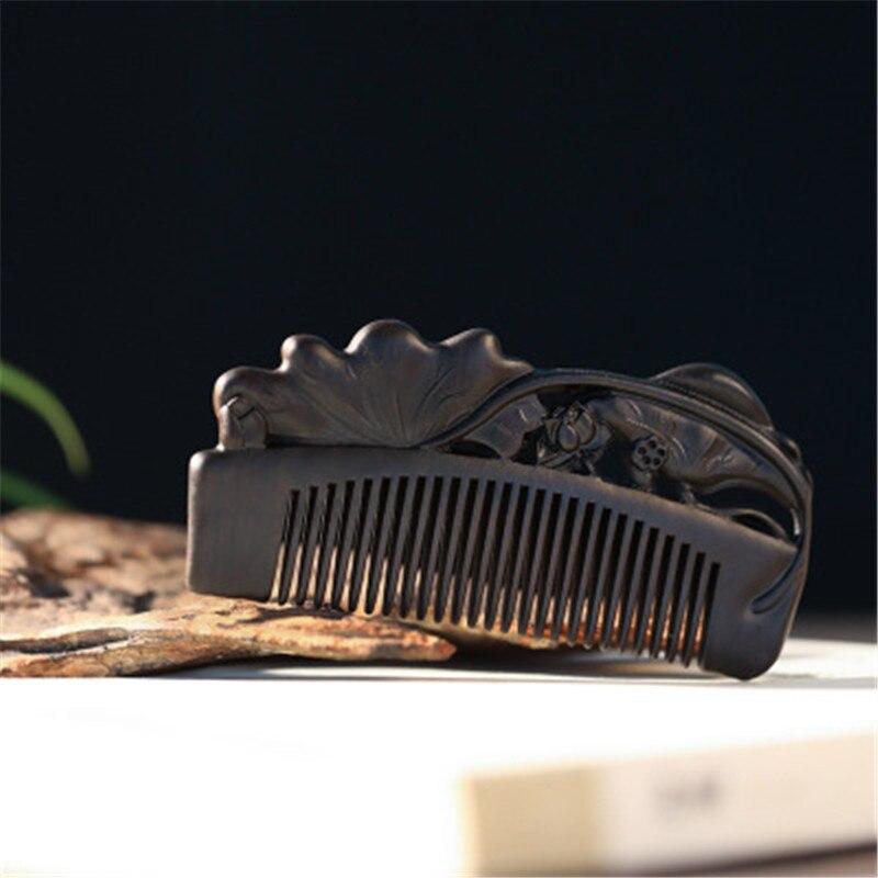 Professionelle Gesundheit Pflege Kamm Anti statische Massage Schwarz Sandelholz Kamm Handgemachte Schönheit Lotus Haar Pinsel - 4