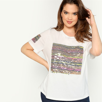 Plus Contrast Sequin Striped Short Sleeve Round Neck