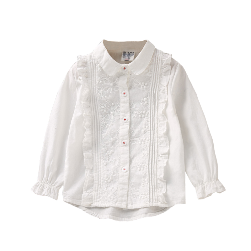 2-8Y Spring Fall White Lace Long Sleeve Girls Blouse Tops Ruffle School Girl Blouse Shirt for Kids Baby Toddler Children Clothes dooky