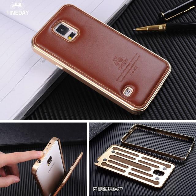 imágenes para Nota 3 Caja Del Teléfono Del Metal De Aluminio Para Samsung Galaxy Note 3 Caso de Parachoques de La Cubierta de Cuero Genuino Para la Nota 3 III N9000 Teléfono vivienda