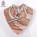 [BYSIFA] Khaki Ladies Square Scarves 2016 New Design Hand Hemming Top Grade Silk Muffler 90*90cm Autumn Women Square Silk Cape
