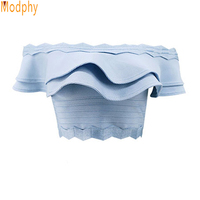 2018 clothes for summer women sexy busty rayon mini ruffles elastic stretch bandage top off the shoulder drop shipping HL214