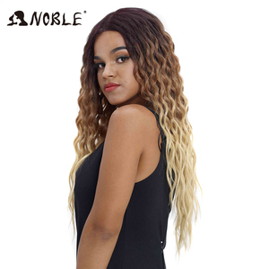 Image 3 - Noble Hair Wigs For Black Women Synthetic Lace Front Wig 28 Inch Long Curly Hair Blonde Ombre Hair Wigs Synthetic Lace Front Wig