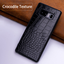 Mobile phone case for Samsung Note 8 crocodile mobile phone case, all-inclusive PU for Samsung S7 8 9 10 mobile phone back cover crocodile pattern anti radiation signal shielding protective pu bag case for mobile phone brown