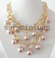 Multi Layer 16mm Champagne Mother of Pearl Round Sea Water Shell Beads Drop Necklace Gold Tone Women