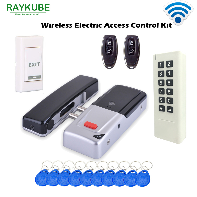 RAYKUBE Wireless Door Access Control System Electronic Intelligent Door Lock With RFID Keypad Remote Control Opening R-W50 home electronic invisible wireless locks stealth remote control smart dark lock anti theft door lock
