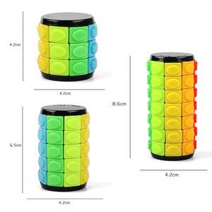 Image 4 - חדש 3D לסובב שקופיות מגדל בבל מתח קוביית פאזל צעצוע קוביית ילדים למבוגרים צבע צילינדר הזזה פאזל צעצוע חושי