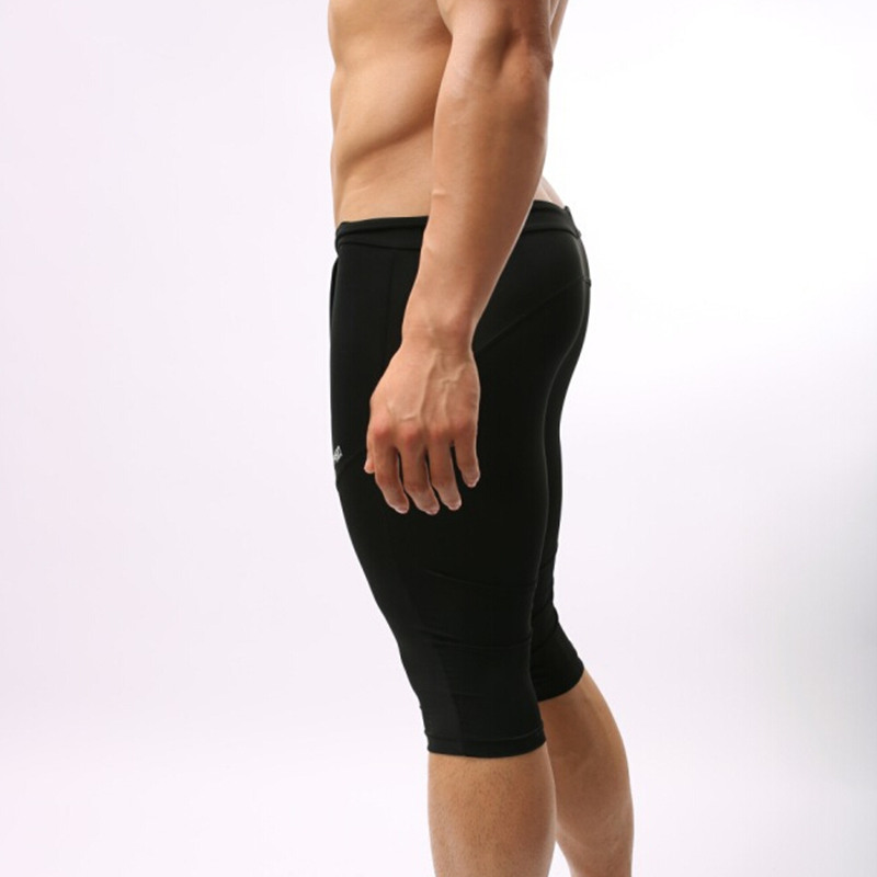 US $12.34 35% OFF|Brave person Bademode Männer Engen Lange Schwimmen Shorts Männer Badeanzug Badehose Multifunktions Compression Sport Kurze Hosen
