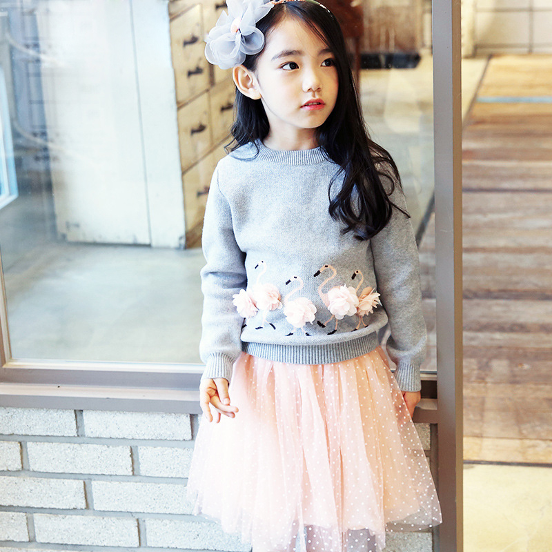 children clothing 2017 new arrival spring girls clothes sets top cartoon swan printed knitted sweater+pink dot mesh skirts 4-11T pink swan 100