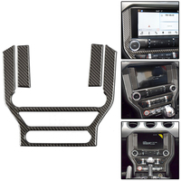 Mayitr 1pc Carbon Fiber Car Center Console Panel Trim Car Interior AC CD Covers Frame Stickers For Ford Mustang 15 17