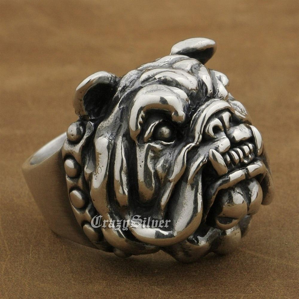 Huge 925 Sterling Silver Pitbull Bulldog Ring Mens Biker