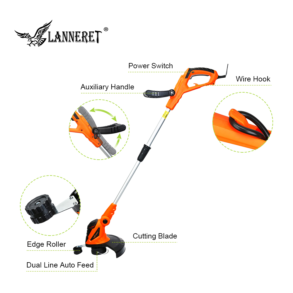 LANNERET 550W AC Electric Grass Trimmer Hand Cleaner Grass Cutter Machine Line Trimmer Ajustable Shaft Rotation Tube Garden Tool