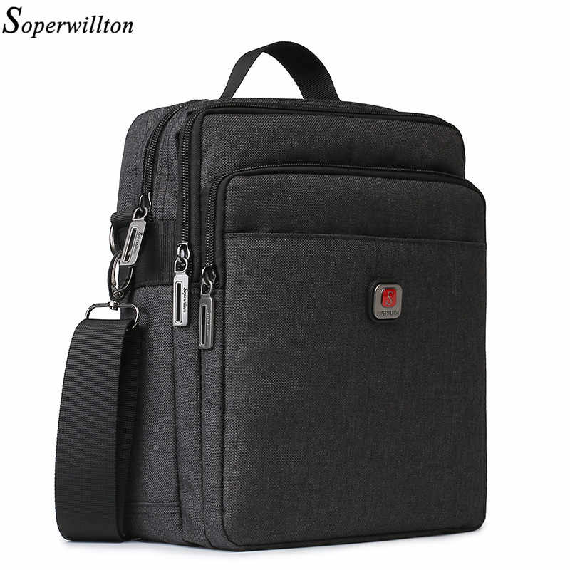Soperwillton Men Shoulder Bag Handbag Casual Men's Bag USB charging Port Travel Bags Water-resistent Oxford Zipper Bag Male
