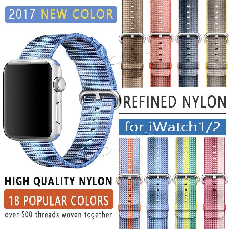 Banda FOHUAS 2017 para apple watch series 1 2 Correa de nailon tejida Tipo Tela para iWatch hebilla clásica con patrón colorido