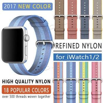 FOHUAS 2017 bande pour apple watch série 1 2 bande en nylon tissé bracelet en tissu pour iWatch modèle coloré boucle classique