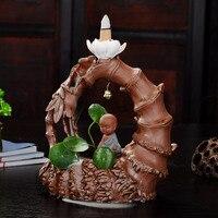 Creative Handmade Bamboo Lotus Zen Monk Incense Burner Smoke Blackflow Ceramic Pottery Clay Censer Ornament Craft