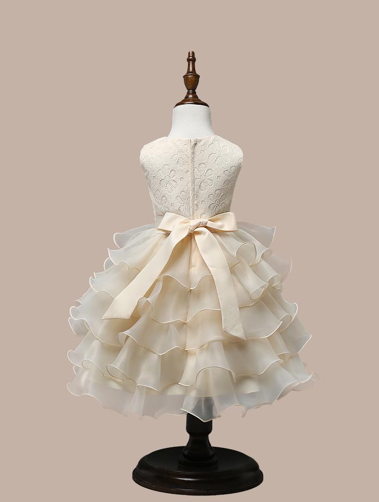 0-7 Years Mutlti Layer White Pink Flower Girl Dress 4