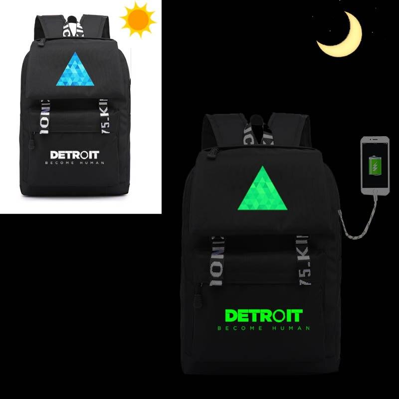 detroit become human backpack cosplay USB bag schoolbag Oxford shoulders bag travelling bag for men and
