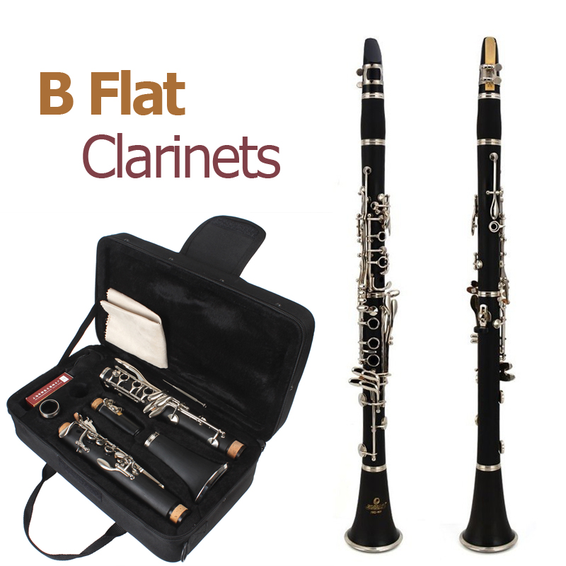 660mm Clarinet ABS Clarinet 17 Key bB Flat Soprano Binocular Clarinet With Screwdriver Case