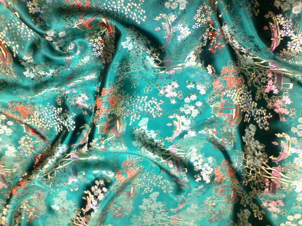 Telas woven damask traditional silk tissu fabric meters cheongsam kimono Green flowers Embroidery textile fabrics Fashion skirt