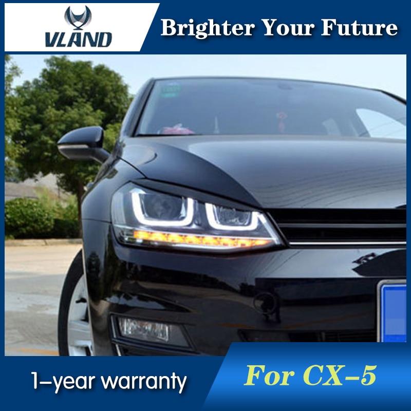 Angel Eye U-Tube Style for VW Golf 7 2013 2014 2015 Headlights Golf7 MK7 LED Headlight Bi-xenon Lens Projector