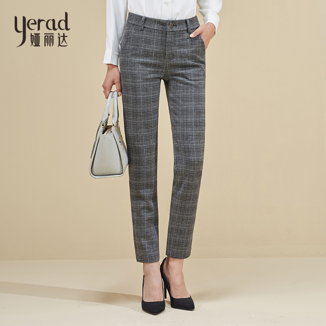 294edcb108fba YERAD Women s Plaid Straight Pants Elegant Trousers 2018 New Autumn Mid  Waist Stretchy Pencil Pants Plaid