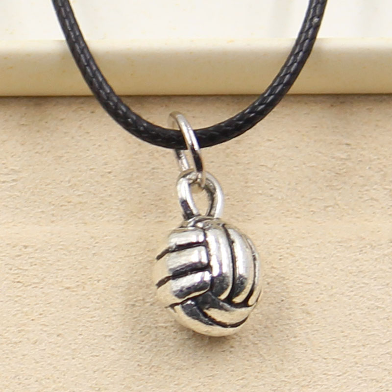 New Fashion Tibetan Silver Color Pendant Volleyball Necklace Choker Charm Black Leather Cord Factory Price Handmade Jewelry